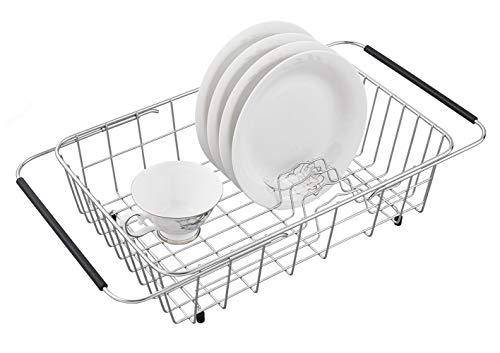 (Adjustable Dish Drying Rack, 304 Stainless Steel Dish Drainer, On Counter or In Sink Dish Rack, Deep and Large- Rustproof)