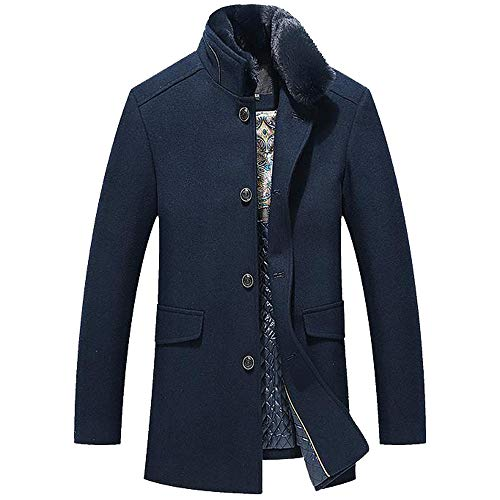LISTHA Faux Fur Collar Wool Trench Coat Mens Long Thicken Slim Overcoat Business Jacket - Etro Cotton Blazer