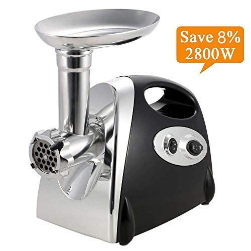 Electric Meat Grinder Stainless Steel and Duty Household Sausage Stuffer Food Processor Grinding Mincing Machine with Kubbe Attachement-Ksun 2800W Heavy Duty Mincer(Black) ETL Approved by Ksun