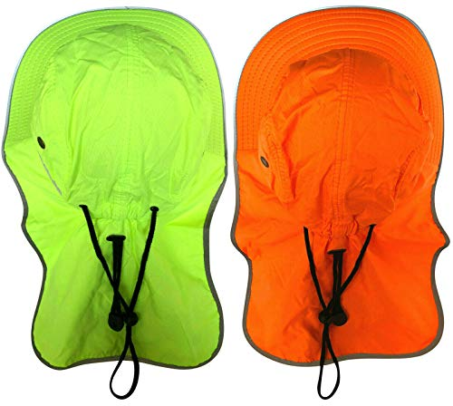 99787009 Men High Visibility Sun Hat with Neck Flap Wide Brim Boonie Hat Bucket Cap  Packable Adjustable
