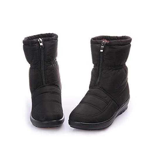 (DETAWIN Women Snow Boots Waterproof Slip On Casual Frosty Winter Warm Wedges Round Toe Mid Calf Boot)