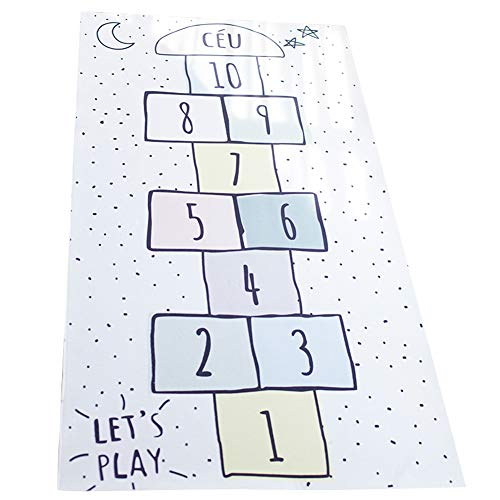 Lzttyee Hopscotch Game Rug Decorative Area Rug, Kids Hop and Count Carpet Crawling Jumping Play Mat Bedroom Sports Carpet ()