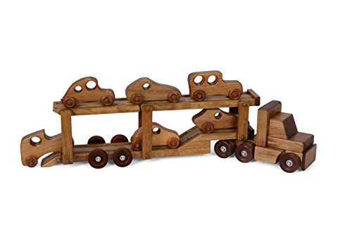 Amish-Made Wooden Car-Transporter Semi Truck and Trailer Toy Set with 6 Cars