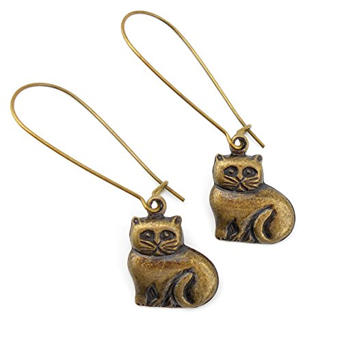 Very Special Present Costumes (Very Long Sitting Cat Earrings in an Antique Bronze colour, includes gift box)
