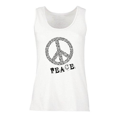 Peace Symbol Womens Tank Top - lepni.me Womens Tank Tops Peace Symbol - 1960s 1970s Hippy Hippie Festivals, Peace Sign Summer Festival Hipster Swag (Medium White Multi Color)