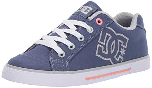 DC Women's Chelsea TX Skate Shoe, Blue/Grey, 8 M US