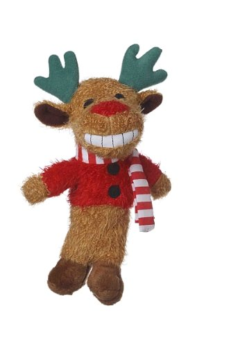 Christmas Loofa (Multipet's 6-Inch Reindeer Loofa Plush Dog Toy That Squeaks)