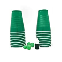 St Patricks Day Novelty Leprechaun Mini Beer Pong Kit | Includes 20 Green SOLO Cups, 4 Mini Ping Pong Balls and Green Beer Food Coloring | Great Gift For Team Wasted on St Pattys Day