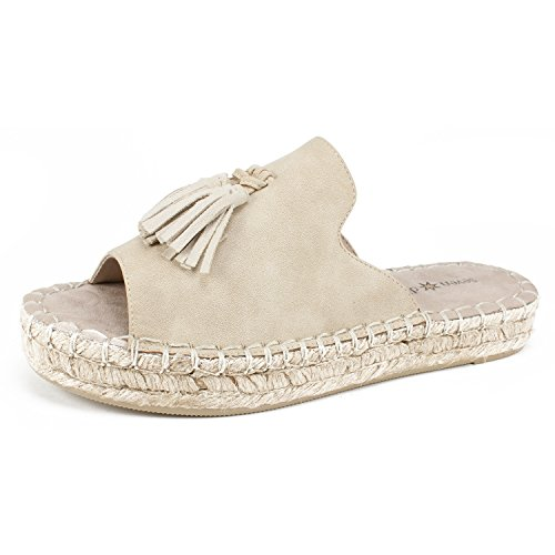 NDELLE Women's Sandal, Natural/Sueded/Smooth, 7H M (Espadrille Slides Sandals Shoes)