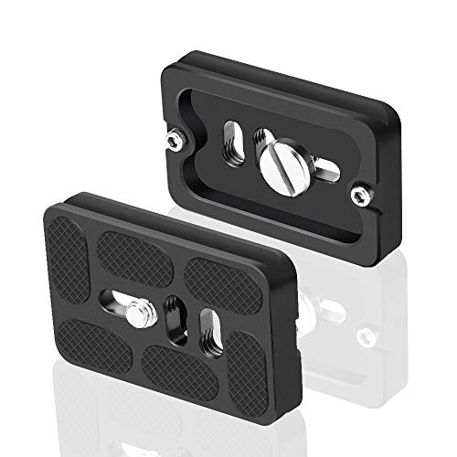 UTEBIT QR Plate Arca Swiss PU60 Universal Quick Release Plate 2 Set with 1/4Screw Mini Tripod Plate Adapter for DSLR Tripod Monopod Stabilizer Ball Head