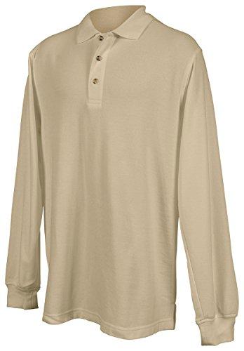 Shirt Pique Sleeve Sport (Tri-mountain Mens 60/40 pique long sleeve golf shirt. 608 - KHAKI_L)
