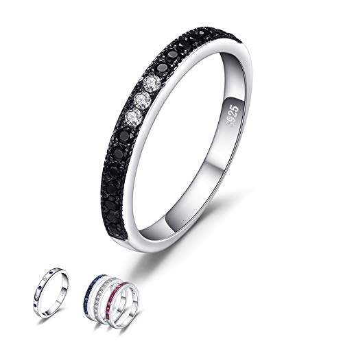 (JewelryPalace Multicolor Created Sapphire Ruby Genuine Black Spinel Engagement Band Ring 925 Sterling Silver (Genuine Black Spinel Ring, 11.5) )