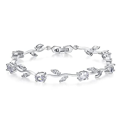 BISAER Lovely Gold Plated AAA Cubic Zirconia Gemstone Flower Vine 7 Inches Bracelet for Mothers Girls Girlfriends