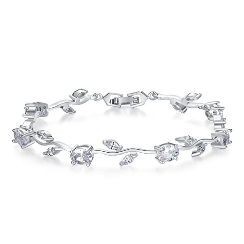 (BISAER Lovely White Gold Plated AAA Cubic Zirconia Gemstone Flower Vine 7 Inches Bracelet for Mothers Girls Girlfriends)