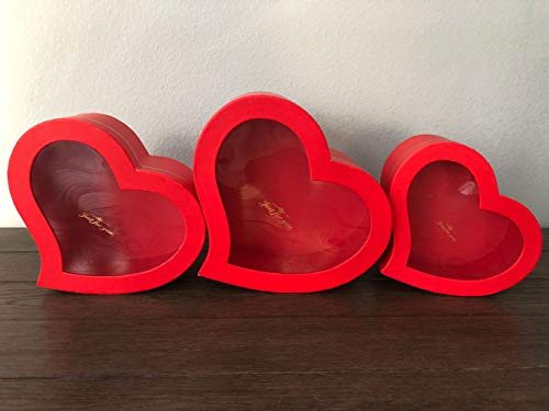 - [USA-SALES] Premium Quality European Style Heart Shaped Flower Box, Floral Hat Box, Set of 3, for Luxury Style Flower Arrangements, Ships from USA (Red)