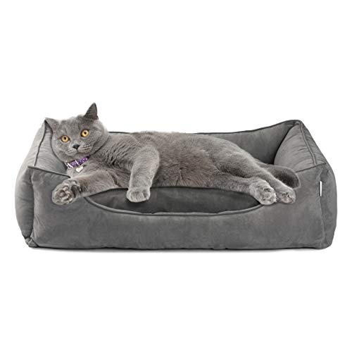 Love's cabin Small Dog Bed with Removable Washable Cover,XL Cuddler Pet Bed for Small Dogs & Cats Pet Bedding Grey, Padded Cushion Water-Resistant Bottom, Super Soft & Durable Pet Supplies