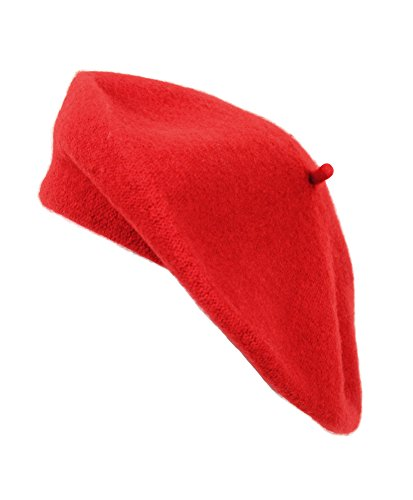 Ladies Solid Colored French Wool Beret (Red)