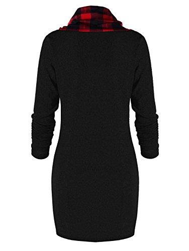 Capot Cordon De Serrage À Carreaux Femmes Charmma Cou Pull À Manches Longues Mini Robe Rouge Et Noir