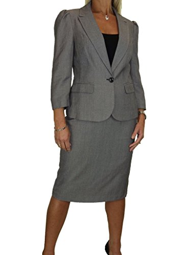 icecoolfashion Ice Lined 3/4 Sleeve Washable Business Office Skirt Suit Grey Tweed (16) (Lined Tweed Suit)