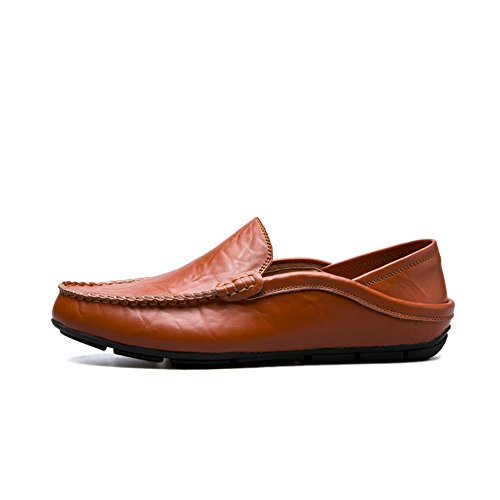 2018 Chaussures Homme d'été Mocassins à Talon Plat pour Hommes Slip on Leisure Shoes (Color : Red Brown, Taille : 40 EU)