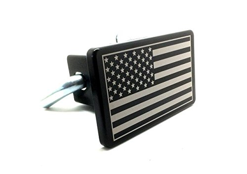 Helm 3 x 5 in. Billet Aluminum Trailer Hitch Cover - American Flag , Black (American Flag Hitch Cover compare prices)
