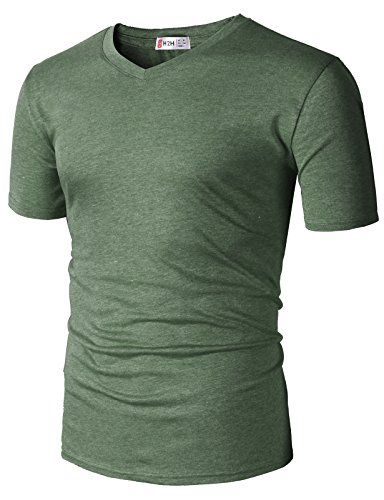 H2H Mens Casual Lightweight Short Sleeve V-Neck T-Shirts DARKOLIVE US XL/Asia 2XL (CMTTS0228)