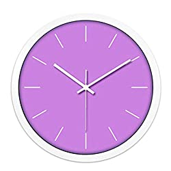 YHEGV CCYYJJ Wall Clock Color Colored Minimalist Solid Figures Clock No Creative Pointer Select Silent Alarm Clock Grid (Color: Purple, Size: M)