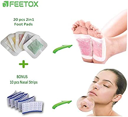 Feetox Foot Pads - Sleep Better, Relieve Stress, Remove Impurities, Feel  More Relaxed, 2 IN 1 New Version | 20 Pcs and Bonus 10 Pcs Nasal Strips to  Better Breath | FDA