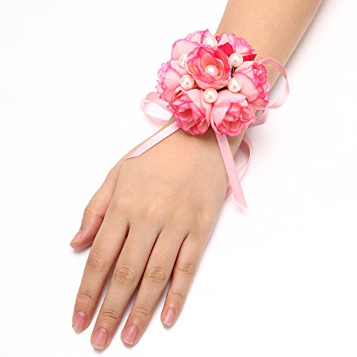 FAYBOX Girl Bridesmaid Wedding Wrist Corsage Party Prom Hand Flower Decor Pack of 2 Pink ()
