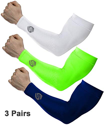 SHINYMOD Cooling Sun Sleeves 2018 Newest Upgraded Version 1 Pair/ 3 Pairs UV Protection Sunblock Arm Tattoo Cover Sleeves for Men Women Cycling Driving Golf Running-3 Pair neon Green+White+Navy
