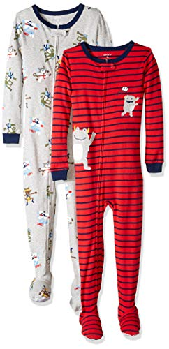 Carter's Boys' Toddler 2-Pack Cotton Footed Pajamas, Karate/Monster, -