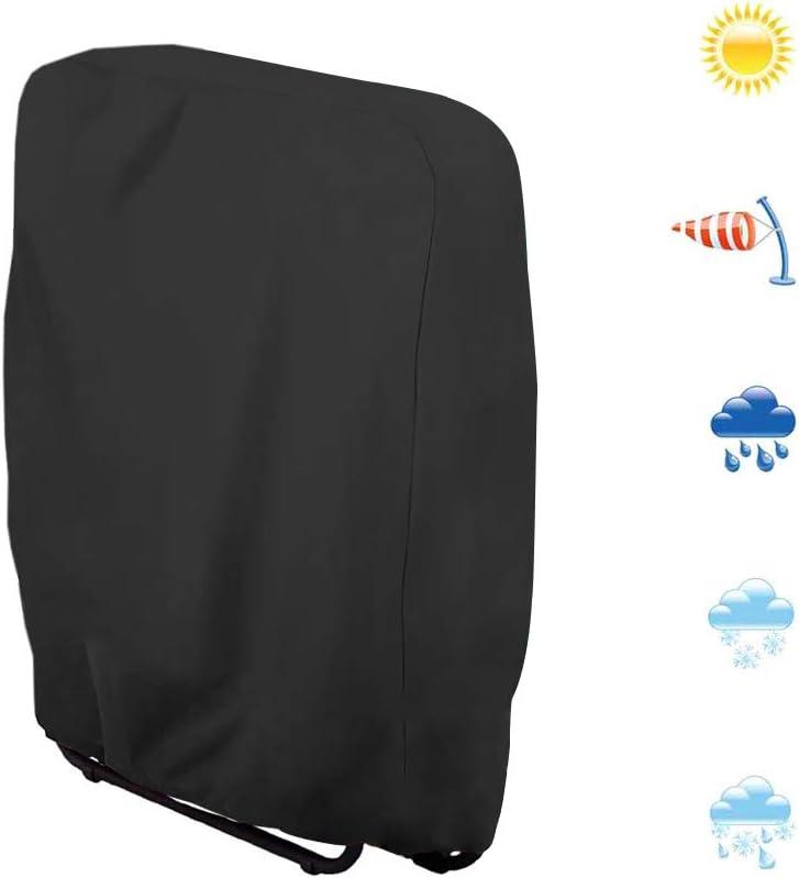 CHEYLIZI Funda para silla plegable para tumbona, impermeable, anti-UV, muebles de jardín, fundas de silla de tela Oxford 210D, negro