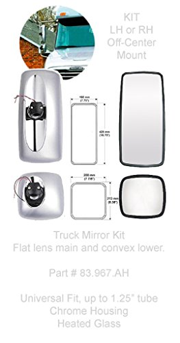 Freightliner Columbia M2 Mirror kit. Includes Main flat glass mirror and lower wide angle mirror, Chrome housings, Heated