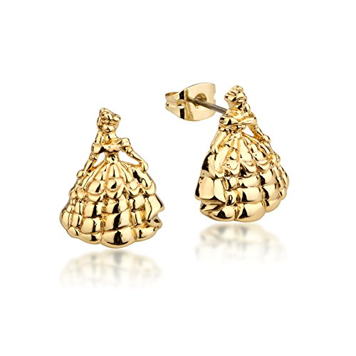 Disney Couture Beauty and the Beast Princess Belle Stud Earrings - Yellow Gold Plated (Couture Disney Kids)