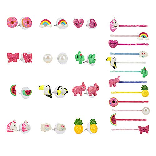 12 Pairs Unicorn Earrings Hair Clips Set - Pink Unicorn Earrings, Pearl Studs Pearl Hair Clips Gift Packing for Kids Girls Women, Hypoallergenic