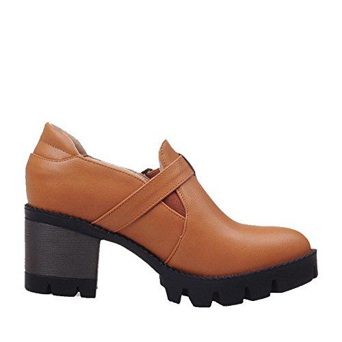 AgooLar Damen Ziehen auf PU Rund Zehe Rein Mittler Absatz Pumps Schuhe Gelb