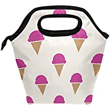 MAPOLO Raspberry Ice Cream Insulated Lunch Bag Outdoor Travel Picnic Carry Case Lunch Handbags Tote for Women Men Kids
