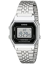 Casio Ladies Mid-Size Silver Tone Digital Retro Watch LA-680WA-1DF
