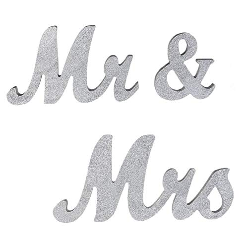 senover Mr and Mrs Sign Wedding Sweetheart Table Decorations,Mr and Mrs Letters Decorative Letters for Wedding Photo Props Party Banner Decoration,Wedding Shower Gift (Silver Glitter)]()