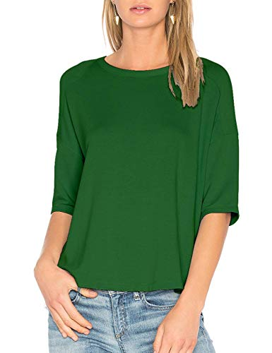 ALLY-MAGIC Womens Cotton T-Shirt 3/4 Sleeves Casual Loose Top Blouse C4722 (L, Dark Green)