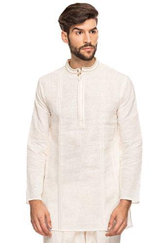 Shatranj Men's Indian Band Collar Mid-Length Tunic Kurta Hand Crafted Stitch; Off White; SM by Shatranj