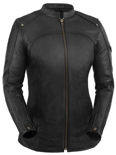 True Element Womens Longer Length Scooter Collar Leather Motorcycle Jacket (Black, Size L)