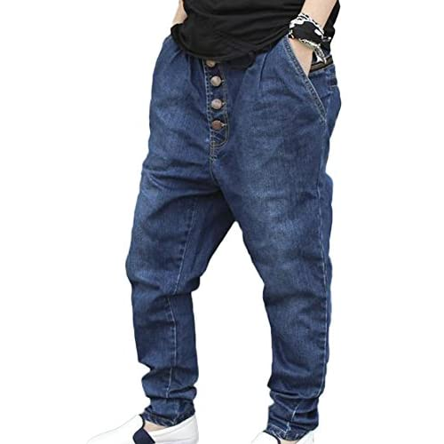Jaycargogo Mens Hipster Hip Hop Casual Printed Washed Denim Jeans Pants Trousers
