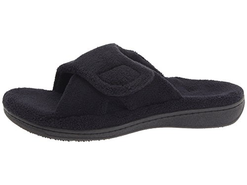 Vionic Orthaheel Womens Relax Slipper, Black Terry, Size : 10