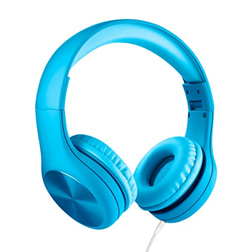 New! LilGadgets Connect+ Pro Premium Volume Limited Wired Headphones with SharePort for Children / Kids (Blue)