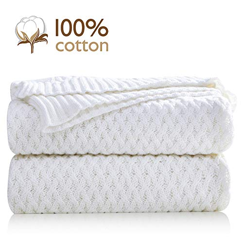 Pumpkin Town White 100% Cotton Cable Knit Throw Blanket for Soft Sofa, Chair, Couch, Picnic, Camping, Beach, Home Decorative Knitted Blanket, 50