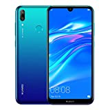 Huawei Y7 2019 (32GB, 3GB) 6.26' Dewdrop Display, 4000 mAh Battery, 4G LTE GSM Dual SIM Factory Unlocked Smartphone (Dub-LX3) - International Version, No Warranty (Blue)