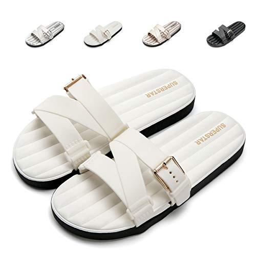 New Women Sandals Pvc White (Nazhi Yang Slides Sandals for Women Soft Comfort Non Slip Adjustment Flat Sandals,2018 New(Women-8 US(D) M /39,White))