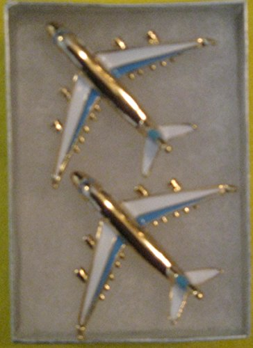 2-PACK Blue Color Enamel BOEING 747 Jet Airplane Used As A Pin Or Brooches For Uniforms Dress, Shirts, Jackets, Ties, Hats & More Gold Plated Aircraft Corsage Hijab. FOR BOEING - Boeing Jet