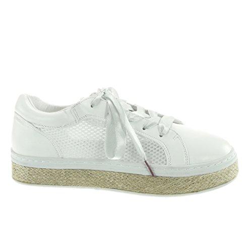 Angkorly Women's Fashion Shoes Trainers Espadrilles - Tennis - Platform - Satin Lace - Perforated - Cord Flat Heel 3.5 cm White sDNI24B